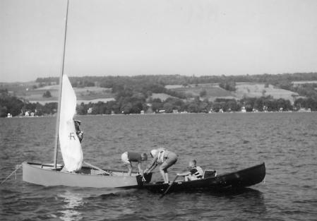 Family boating, Kueka Lake, 1961